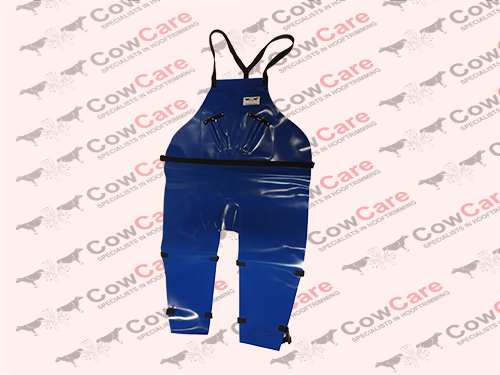 Apron-CowCare,-full-length-made-of-PVC-with-leg-clasps,-with-knife-holders