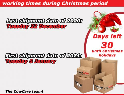 CowCare will be closed for Christmas holidays