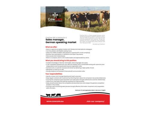 CowCare is looking for German speaking Sales Manager